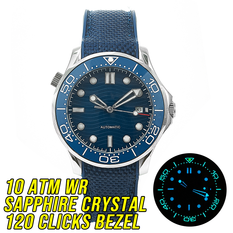 HOT <font><b>10BAR</b></font> <font><b>100M</b></font> Water Resistant Blue Wave JAPAN MIYOTA Mechanical Automatic Watch DIVER300M Style Sapphire Crystal Luminous image