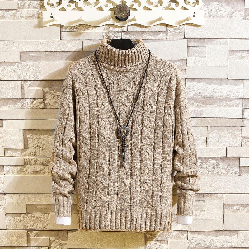 Men Sweater New Arrival 2019 Autumn Winter Turtleneck Korean Fashion Harajuku Plus Size M-3XL Homme Sweaters Warm Wool Clothing