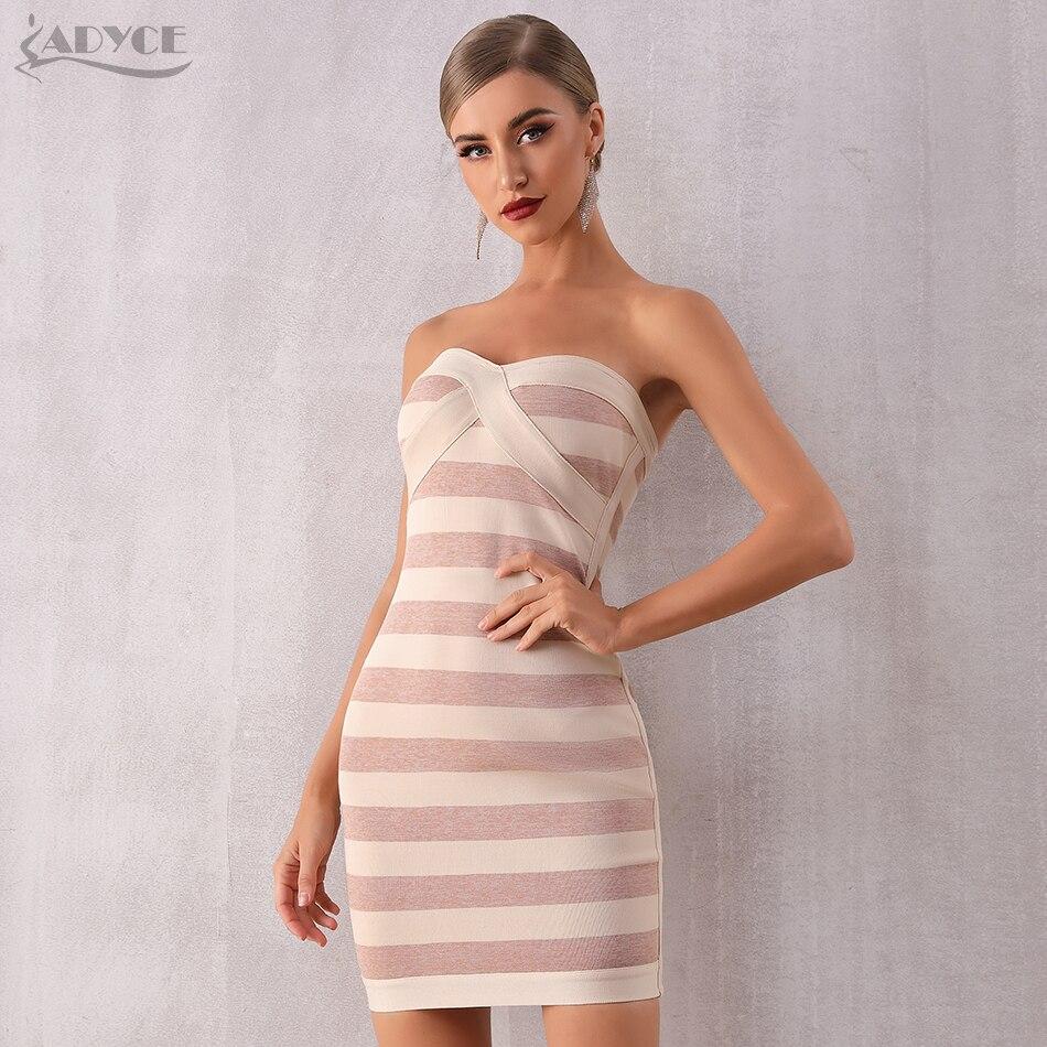 Adyce 2019 New Summer Women Runway Bandage Dress Sexy Sleeveless Strapless Striped Bodycon Club Celebrity Evening Party Dresses