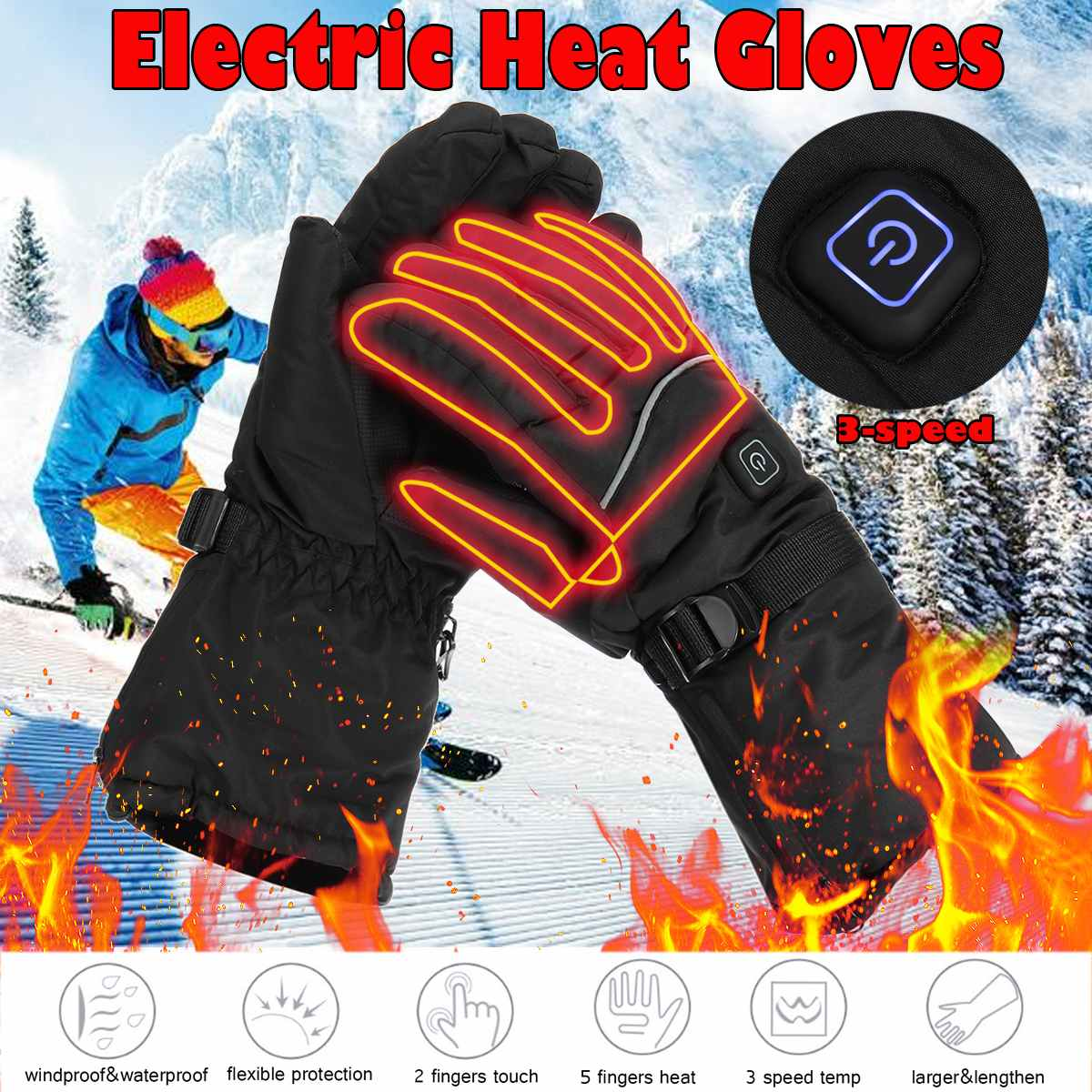 Winter USB Hand Warmer Electric Thermal Gloves Waterproof Heated Gloves Battery Powered For Motorcycle Ski Gloves