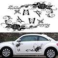150 см ПВХ черная бабочка Любовь Цветы Роза Тотем личность гоночный автомобиль линия талии автомобиля тело боковая наклейка
