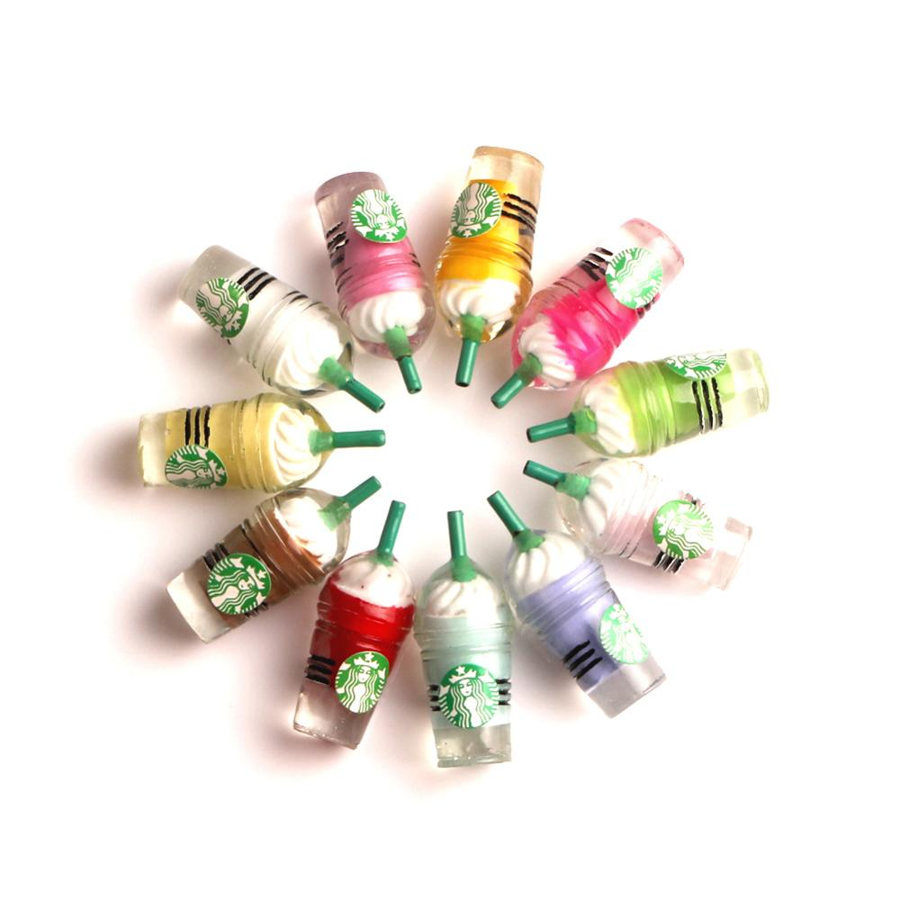 10Pcs Resin Coffee Bottle Cups Decoration Crafts Flatback Cabochon Embellishments For Scrapbooking Kawaii DIY Accessories