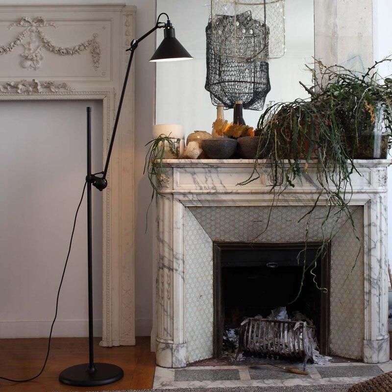 Işıklar ve Aydınlatma'ten Zemin Lambaları'de Iskandinav tasarım endüstriyel Minimalist ayarlanabilir klasik standı zemin lamba ışığı için oturma odası Loft salonu siyah E27 title=