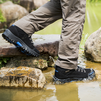 Men Hiking Shoes Waterproof Male Outdoor Travel Trekking Shoes Leather Climbing Mountain Shoes Hiking Hunting Boots Sneakers Man 2