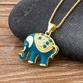 Heißer Verkauf Nationalen Stil Klassische Blue Elephant Anhänger Hohe Qualität Kupfer Zirkon Halskette Weiblichen Charme Party Geburtstag Schmuck