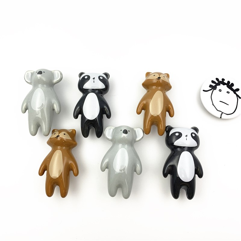 LCH Ceramic Carton Knob Panda Fox Koala Shaped Children Room Hardware Museum Cabinet Knobs Drawer Knobs For Kids/Children