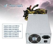 1800 Вт высокоэффективный источник питания для ATX монетного шахтера 6 GPU ETH BTC эфириума с низким уровнем шума охлаждающий вентилятор