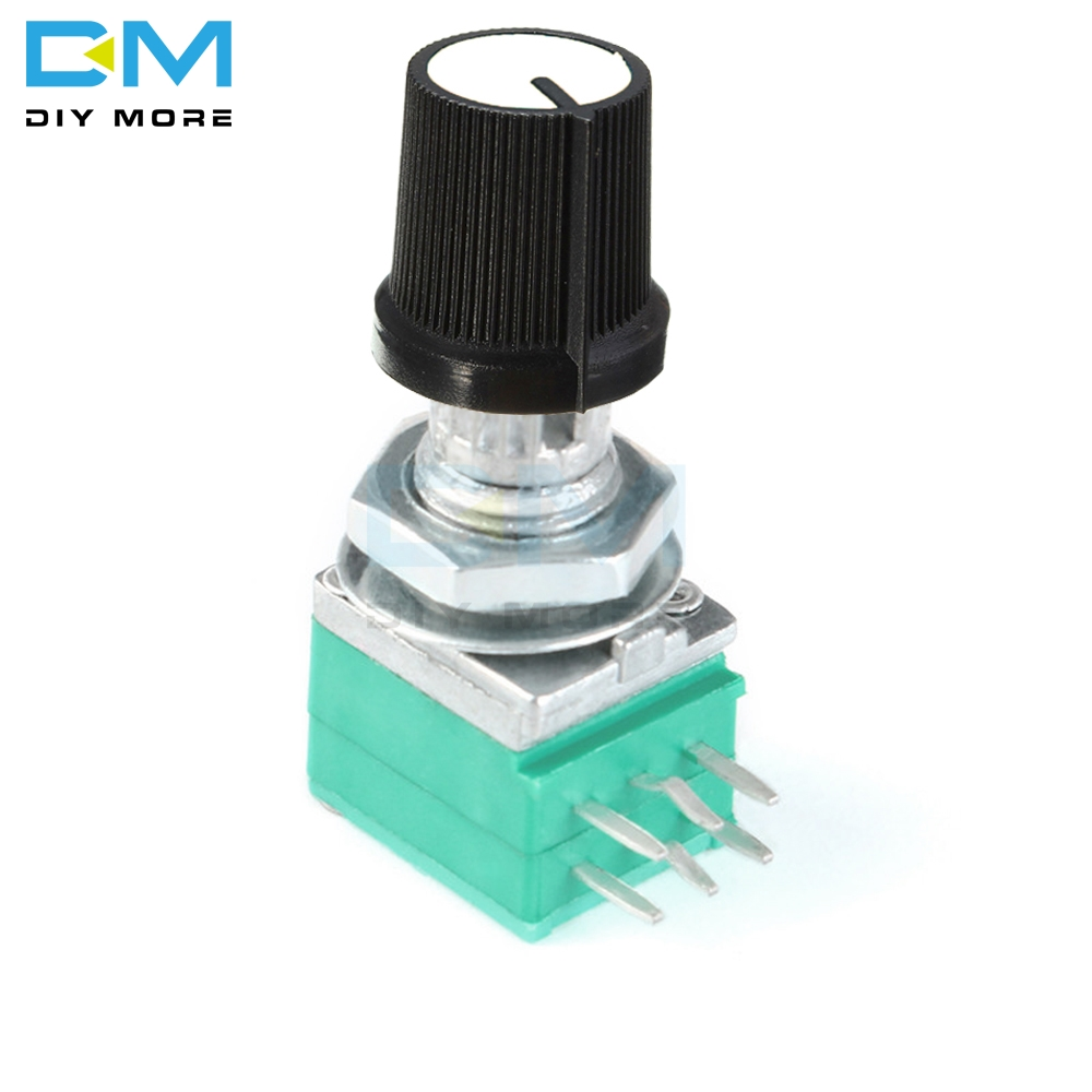 1PCS 6 Pin Rotary Potentiometer 6mm Knurled Shaft Single Linear B Type B10K Ohm 5K 10K B20K B50K B100K With Caps White 6PIN 6P