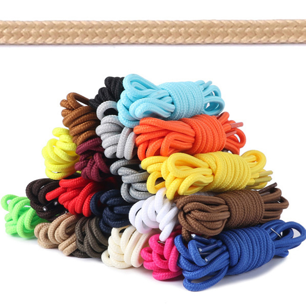1Pair Round Solid Shoelaces Top Quality Polyester Shoes Lace Solid Classic Round Shoelace Sneakers Boots Shoes String Hot Sale