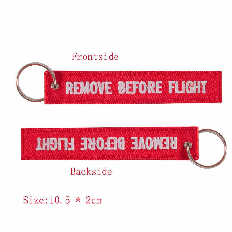 Etiqueta de equipaje con llavero bordado rojo eliminar antes de volar Etiqueta de viaje para regalos de aviación 3 unids/lote