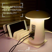 Quick Charge 3.0 Smart USB Charger for iphone X Led Desk Lamp Night Light 5 Ports Wall Fast Charging Power Socket Phone Stander