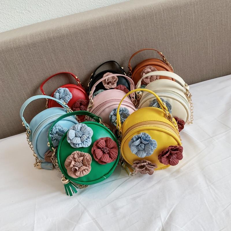 Children 2019 New Style Small Round Bag Cute Flower WOMEN'S Bag Purse Simple One-Shoulder Oblique Bag Fashion