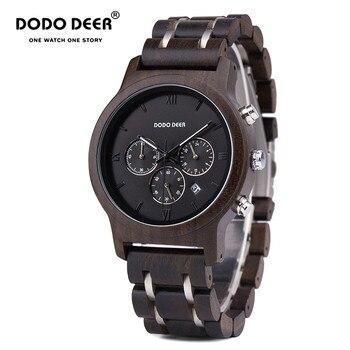 DODO DEER Wood Watch Men relogio masculino Wooden Metal Strap Chronograph Date Quartz Watches Top Versatile Timepieces B12 OEM