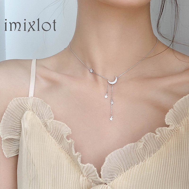 Silver Color Star Moon Tassel Necklaces For Women choker collares Wedding Jewelry