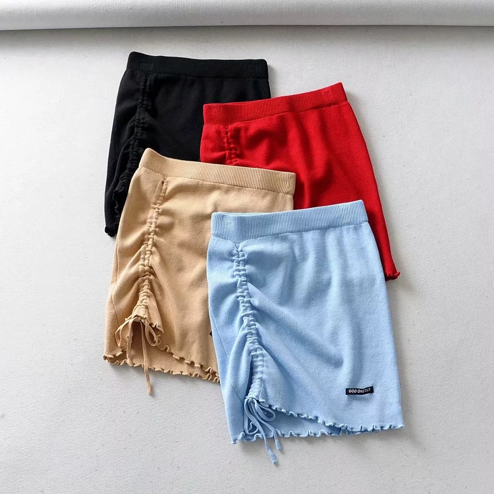 Irregular High Waist Elastic Short Skirt Tight Package Hip Side Drawcord Knitted Mini Skirt Sexy Fashion Street