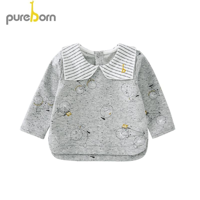 Pureborn Toddler Top T-shirt Collar Long Sleeve Cartoon T-shirt Newborn Baby Boys Girls Clothes Spring Autumn 1