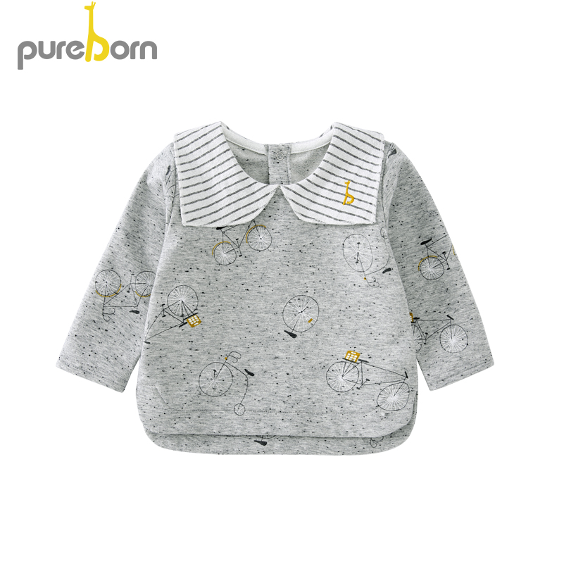 Pureborn Toddler Top T-shirt Collar Long Sleeve Cartoon T-shirt Newborn Baby Boys Girls Clothes Spring Autumn