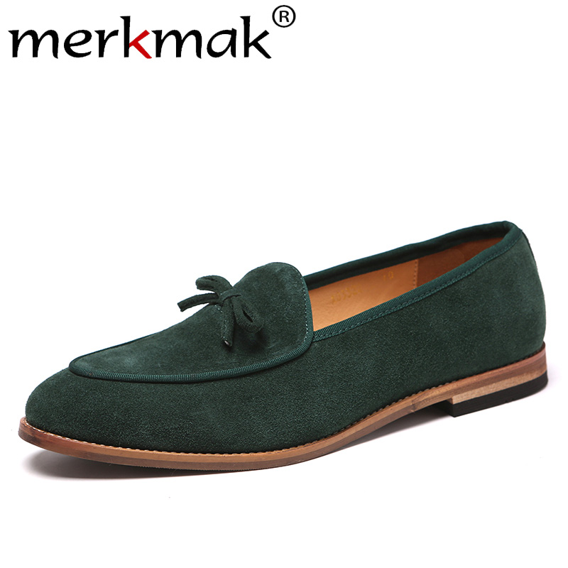 Merkmak Genuine Leather Men Shoes Fashion Bow Male Loafers Wear-resistant Casual Shoes Big Size Scrub Party Wedding Footwear