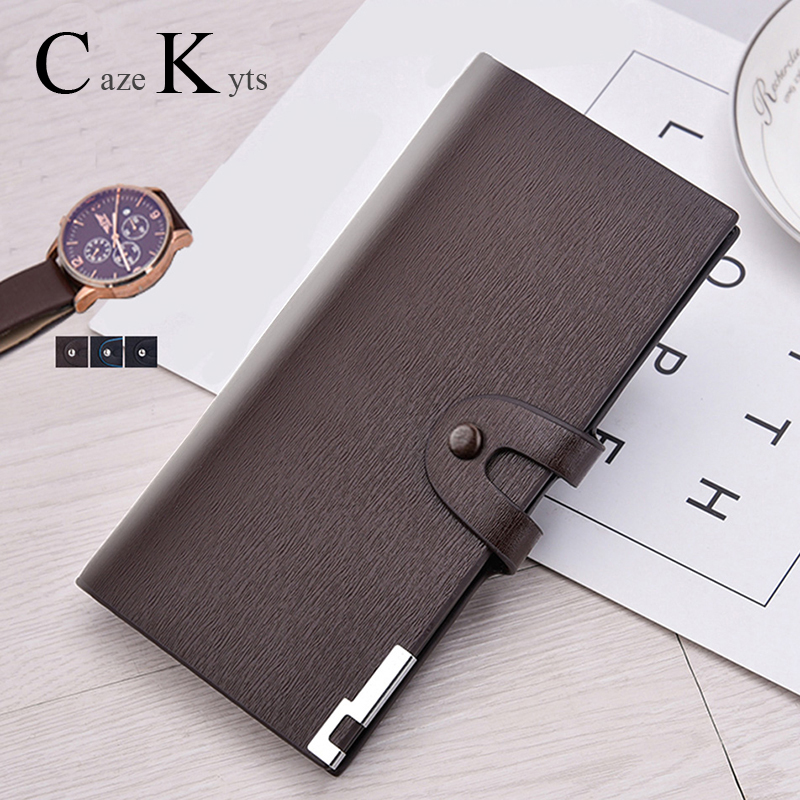 New Genuine Cow Leather Youth Wallets Magnet Buckle Coin Purse Men's Wallet Long Purse Credit Card Holdr Men Free Shipping