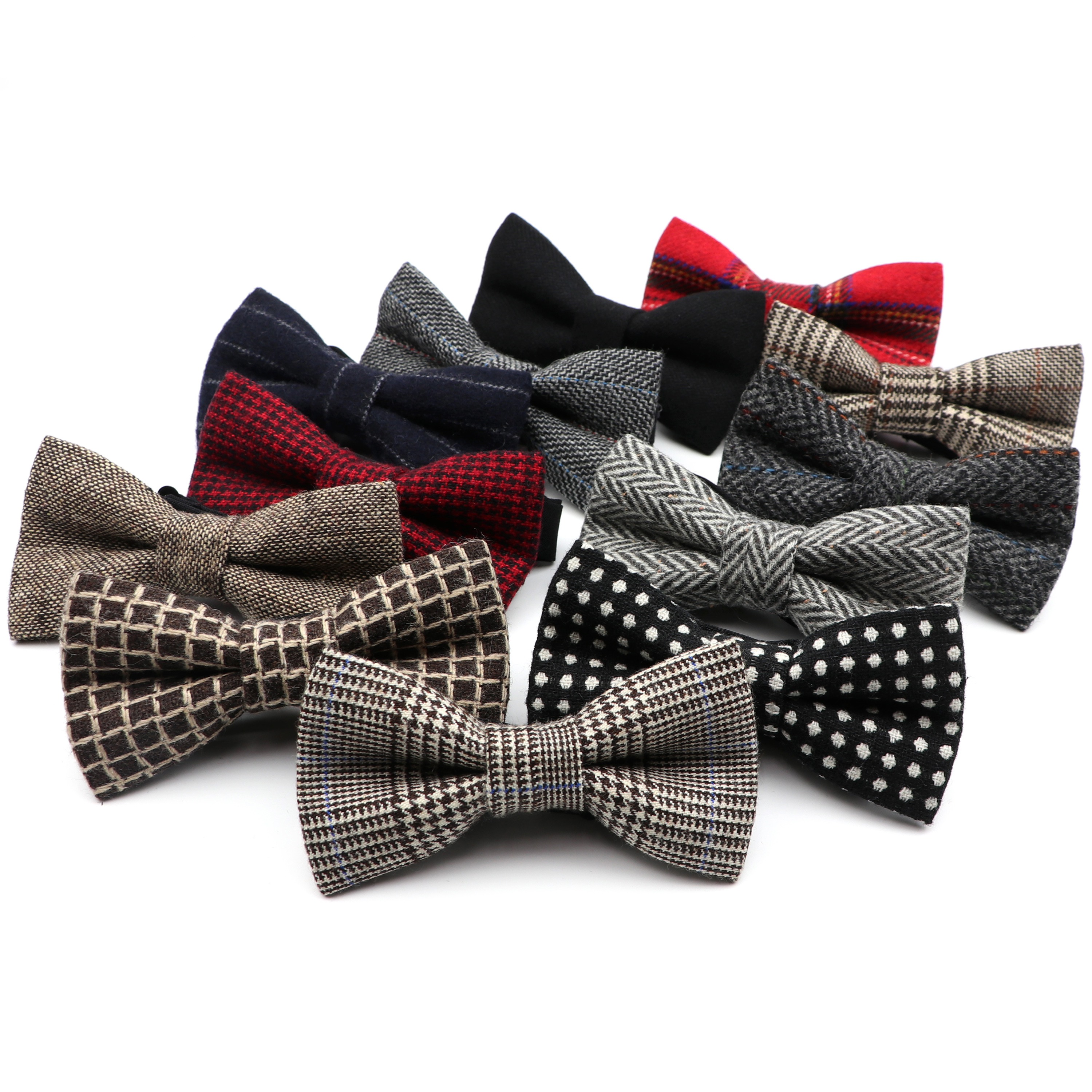 Men's 100% Wool Bow Tie Superior Classical Gravata Houndstooth  England  For Men Wedding Formal Business Butterfly Bowtie Gift