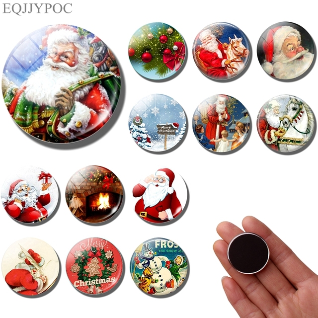 Santa Claus fridge magnet Christmas decoration 30MM refrigerator magnets Christmas gift fridge stickers cute cartoon Home Decor 1