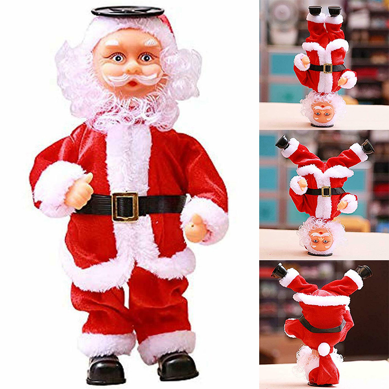 Christmas Santa Claus Dancing Inverted Electronic Toy Doll Xmas Decor Ornament AN88