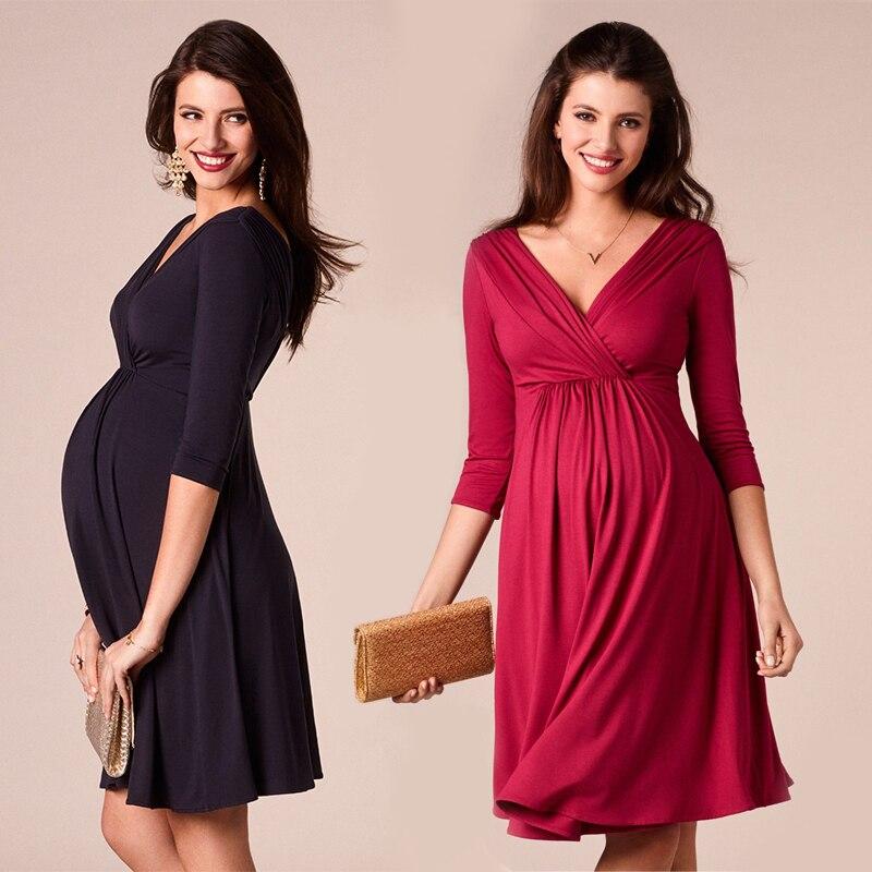 Vestidos de lactancia materna ropa de maternidad para mujeres embarazadas ropa sólida con cuello en V vestidos de embarazo vestido de noche para madresVestidos   -