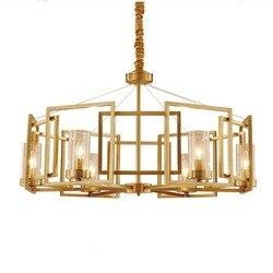 Nowy mosiężny żyrandol Vintage miedziany żyrandol lampa salon złoty lampa Penadnt dekoracja mosiężny żyrandol