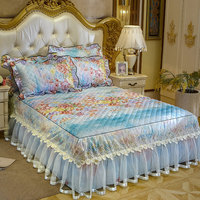 Korean Princess Lace Bedspreads Quilted Bed Covers Queen King Bedskirt Printed Floral Fitted Sheet with Pillow Covers 3pcs