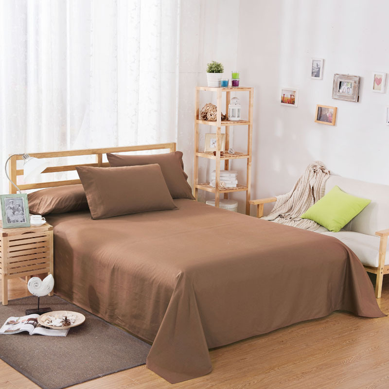 ropa de cama Solid color polyester cotton bed sheet hotel home soft brushed flat sheet queen bed cover not included pillowcase 16