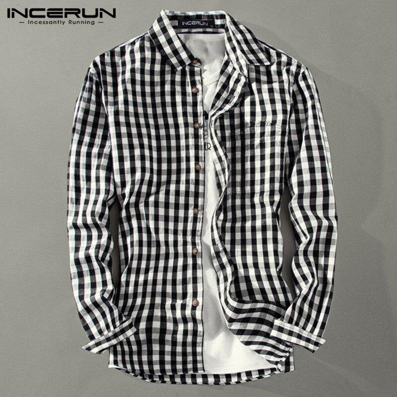 INCERUN Men Casual Plaid Shirt Lapel Streetwear Chic Long Sleeve 2020 Button Camisa Fashion Brand Basic Shirts Men Plus Size 5XL