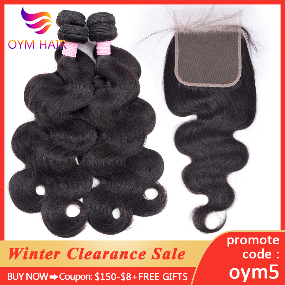 OYM HAIR 3 Bundles Peruvian Body Wave Bundles With Closure Pre-Plucked Remy 4Pcs/Lot Human Hair Weave Bundles With Lace Closure