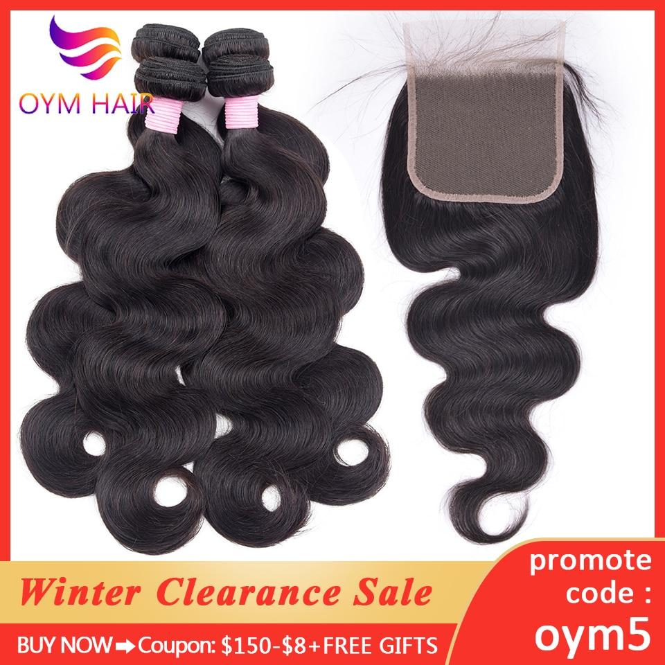 OYM HAIR 3 Bundles Peruvian Body Wave Bundles With Closure Pre-Plucked Remy 4Pcs/Lot Human Hair Weave Bundles With Lace Closure