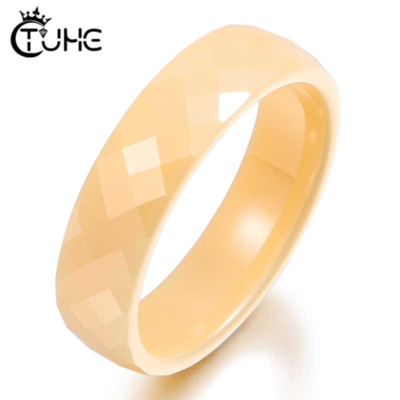 8 Mm Cắt Phần Gốm Nhẫn Màu Vàng Không Bao Giờ Phai Nam Nữ Vòng Vintage Nhẫn Cưới Cho Nữ