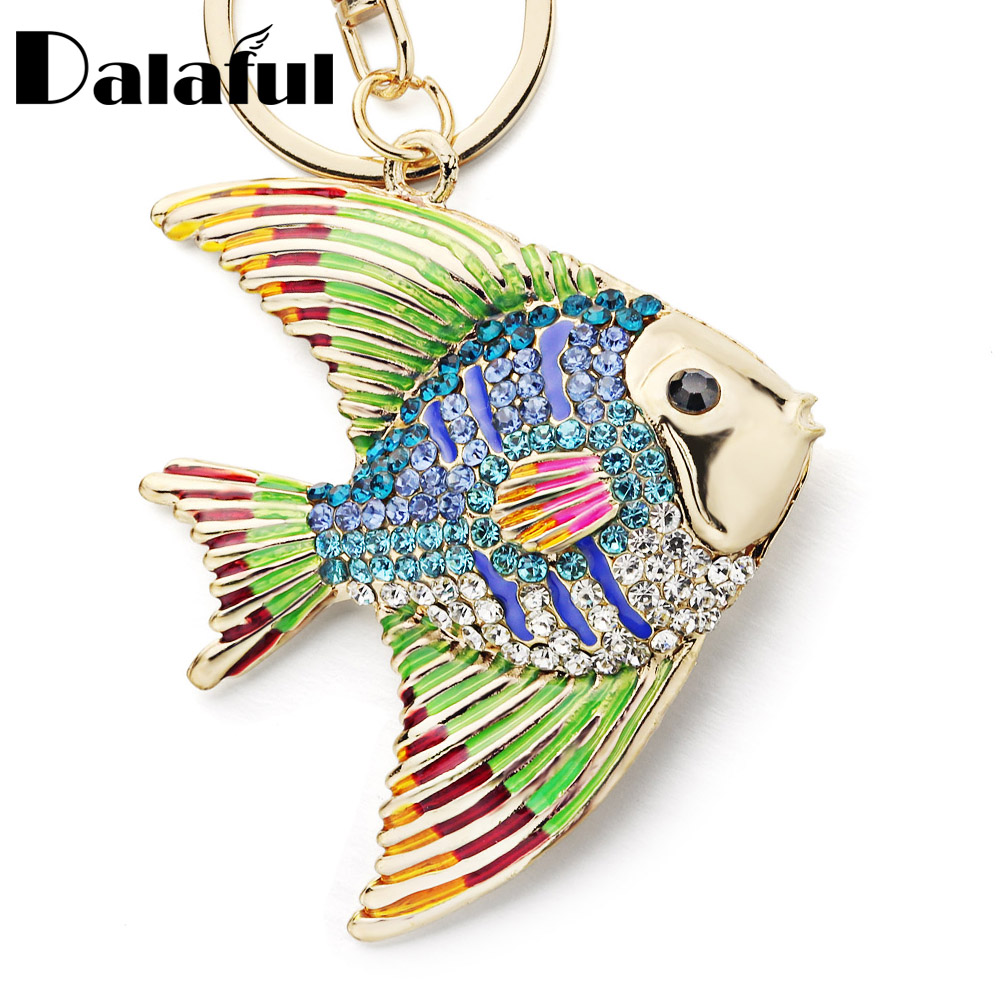 Dalaful Tropical Fish Keyrings Keychains Multicolour Enamel Crystal Goldfish Key Chains Holder Bag Pendant For Car K366