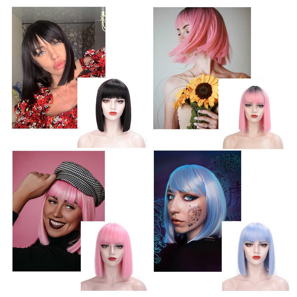 Damgalı muhteşem düz siyah Bob kahküllü peruk sentetik kısa peruk kadınlar için ısıya dayanıklı iplik saç Cosplay peruk