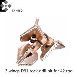 Outils de forage de puits dur 3 ailes D91 lager cutter trois lames foret de roche pour la prospection géologique adapté à 42 tiges