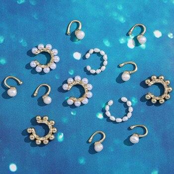 2020 New Fashion Pearl Ear Cuff Bohemia Stackable C Shaped CZ Rhinestone Small Earcuffs Clip Earrings for Women Wedding Jewelry