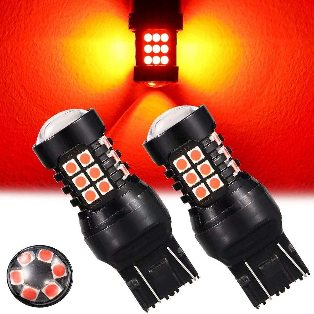 7443 t20 piscando/strobe vermelho luz de freio da cauda lâmpadas substituição para carros caminhões