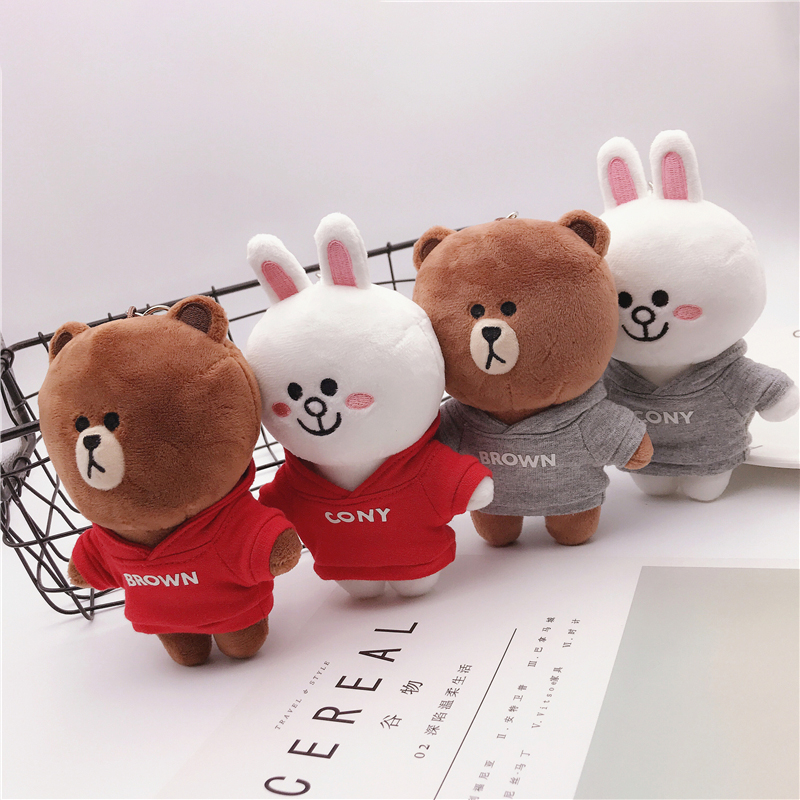 Brown Bear Cony Rabbit Plush Doll Wearing Sweatshirt Stuffed Toy Soft Cute Animals School Bag Pendant Gifts Girl Birthday Presen
