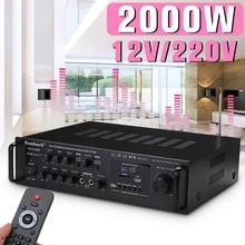 2000 Вт 2CH домашний стерео усилитель мощности аудио караоке автомобиль Hi-Fi FM Усилитель США штекер с пультом дистанционного управления для автомобиля дома