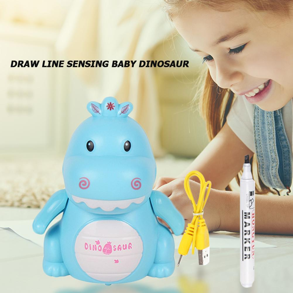 Draw Line Sense Small Dinosaur Excellent Plastic USB Charging Automatic Induction Road Marking And Pen New Exotic Toys