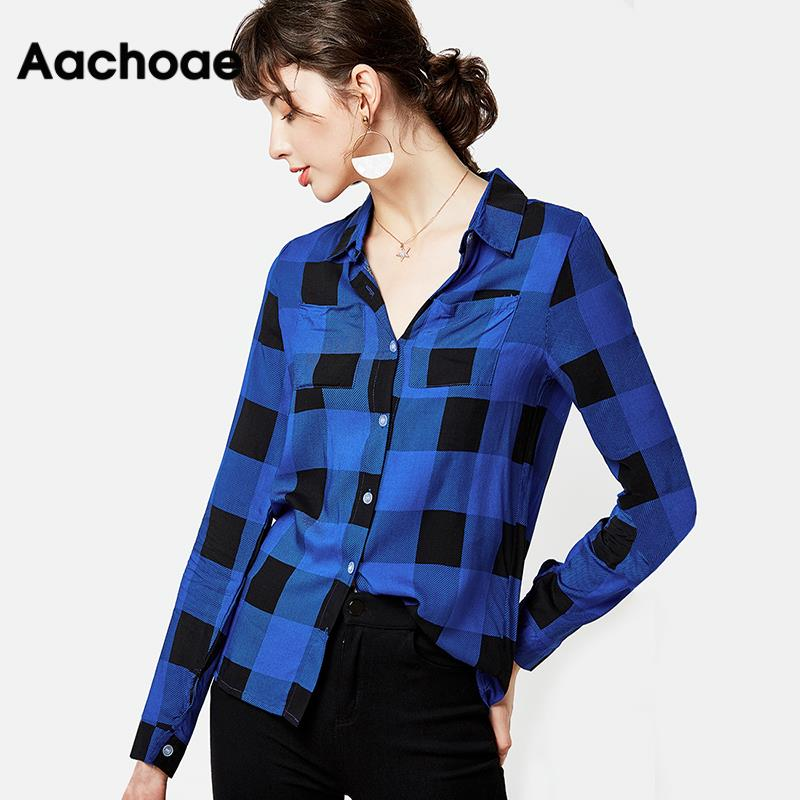 Plaid Blouse Women Fashion Long Sleeve Shirt 2020 Turn Down Collar Office Blouse Casual Shirts Ladies Tops Plus Size Tunic