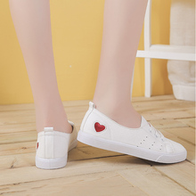 CXJYWMJL Fashionable Sneakers For Women Vulcanized Shoes With PU Leather Flat Laces Casual White 6857