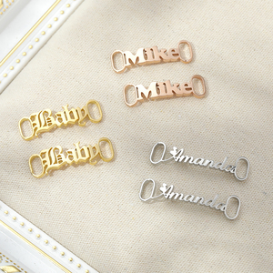 Custom Name Shoe Buckle Personalized Stainless Steel Jewelry Nameplate Buckie Charm Kids Adult Leisure Sneakers Lazy Shoe Tags