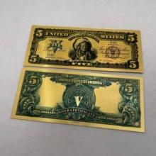 1899 год США $24k Золотая банкнота 5 долларов США Красочные банкноты покрытые ложными деньгами коллекционные банкноты 5 долларов