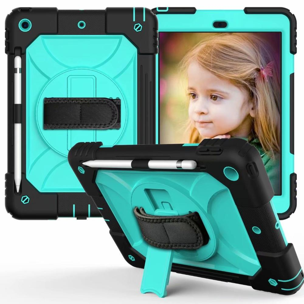 black cyan Black For iPad 7th Generation Case 360 Rotating Stand Hand Strap Pencil Holder Cover For iPad 10