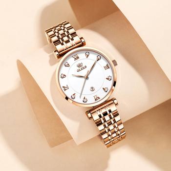 OLEVSbrand zegarki moda gorąca sprzedaż zegarki kwarcowe wodoodporne zegarki damskie tanie i dobre opinie QUARTZ Klamerka z zapięciem CN (pochodzenie) STAINLESS STEEL 3Bar Moda casual