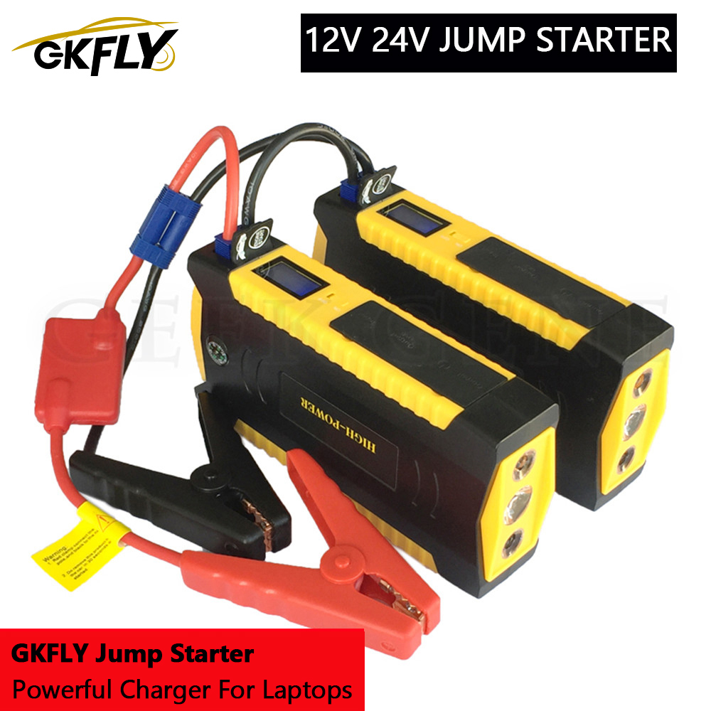 GKFLY Emergency 24V 12V Starting Device 600A Portable Car Jump Starter Power Bank Car Charger For Car Battery Booster Buster LED