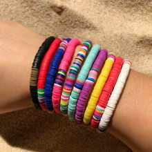 Boho – Bracelet de perles en argile polymère extensible, disque en vinyle multicolore, perles en poterie douce mélangées, bijoux de Surf, cadeaux, 2020